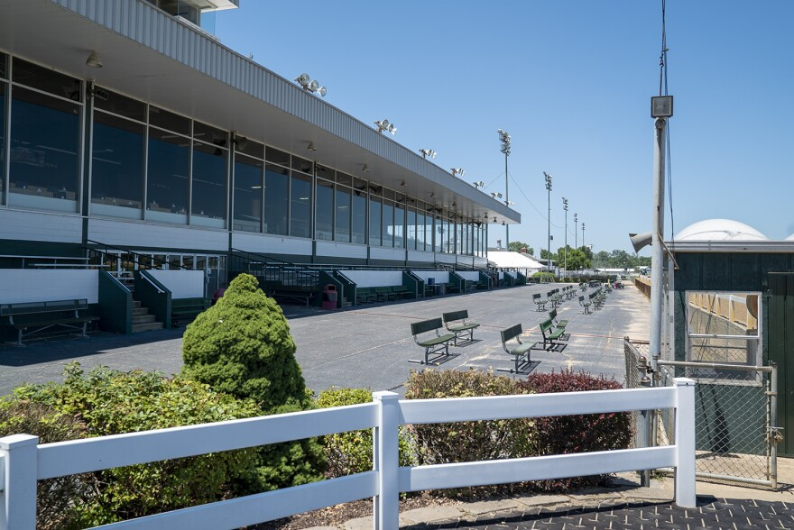 Empty stands at Fairmount Park on a day without live races on July 17. The park cannot allow spectators for the 2020 season because of restrictions from the coronavirus pandemic.