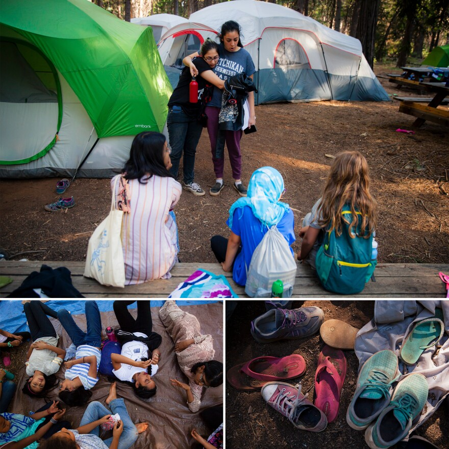 <strong>Top:</strong> Counselors Manar Soliman (left) and Jasmine Wadalawala embrace while waiting for their campers to gather. <strong>Left:</strong> Girls rest in the shade of a cedar tree after <em>Dhuhr</em> prayer. <strong>Right:</strong> Shoes are piled outside a tent.