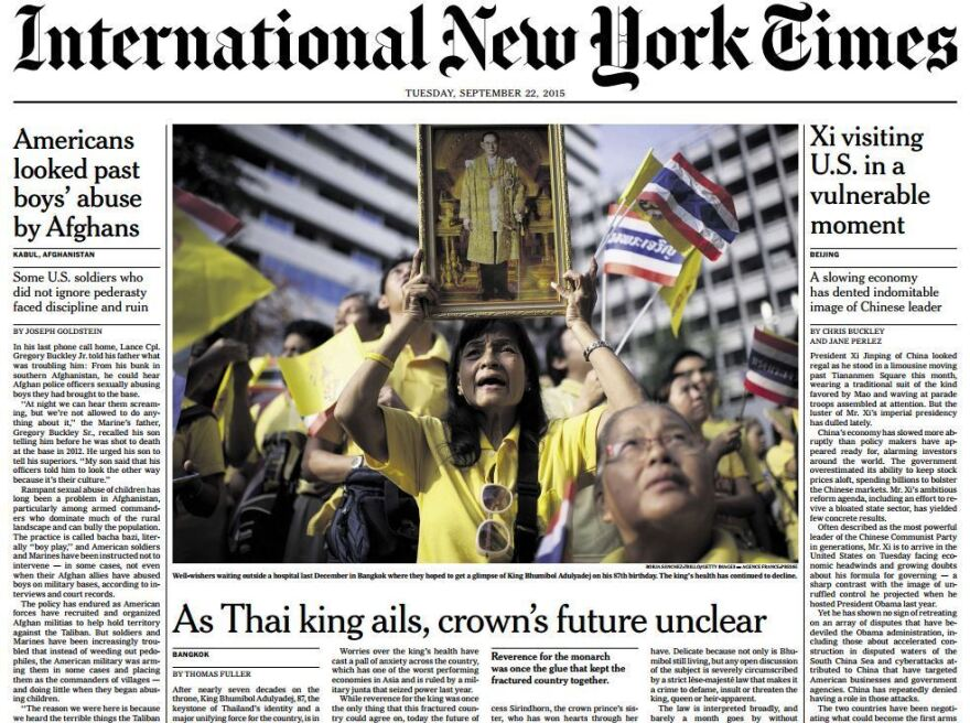 The front page of Tuesday's edition of the <em>International New York Times</em>, with a story about Thailand's king.