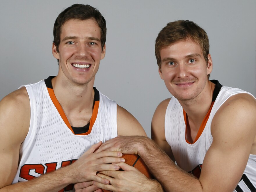 Phoenix Suns' Goran Dragic, left, and his brother, Zoran Dragic, are both from Slovenia. Their sibling rivalry helps motivate them on the court.