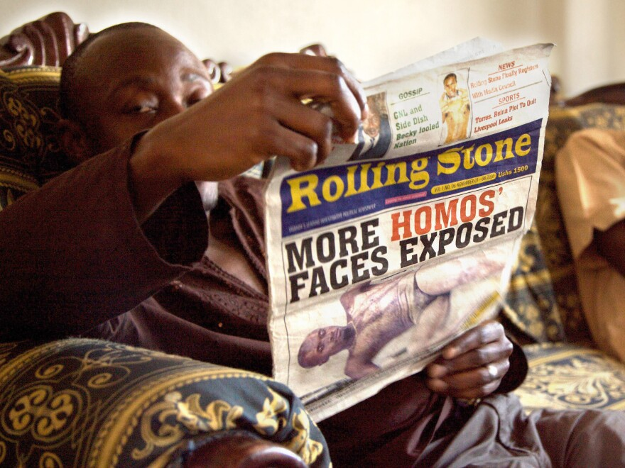 One of the front page stories published by Ugandan newspaper <em>The Rolling Stone</em>, which terrorized the LGBT community.