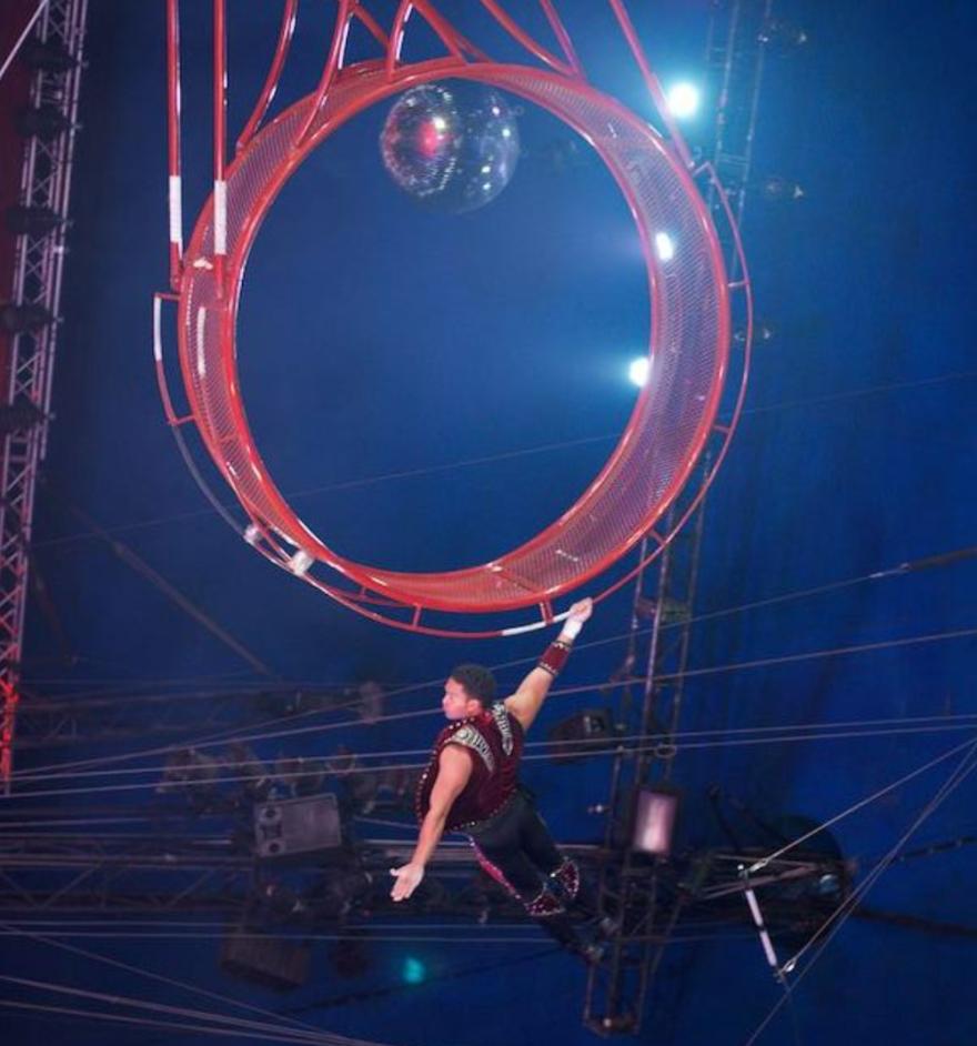 Jayson Dominguez performs on the Wheel of Destiny.
