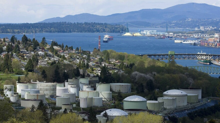 Oil storage tanks at the Chevron Burnaby Oil Refinery on the shores of Burrard Inlet, east of Vancouver, British Columbia.