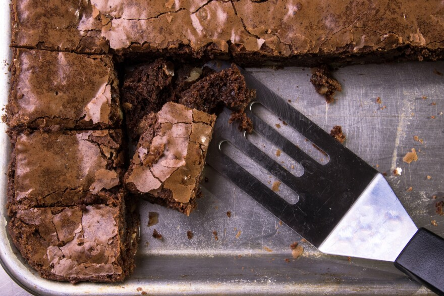 Brownies in a pan, ready to be served.