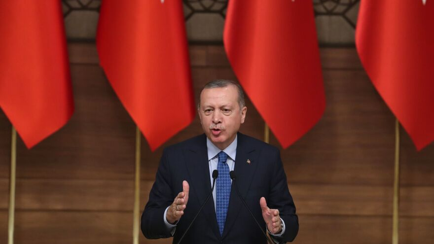 Turkish President Recep Tayyip Erdogan celebrated President Trump's decision to withdraw U.S. troops from Syria, where Turkey has launched attacks on U.S.-backed Kurdish fighters.