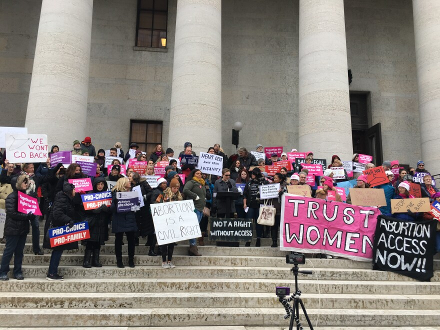 Legal abortion advocates rally at Ohio Statehouse