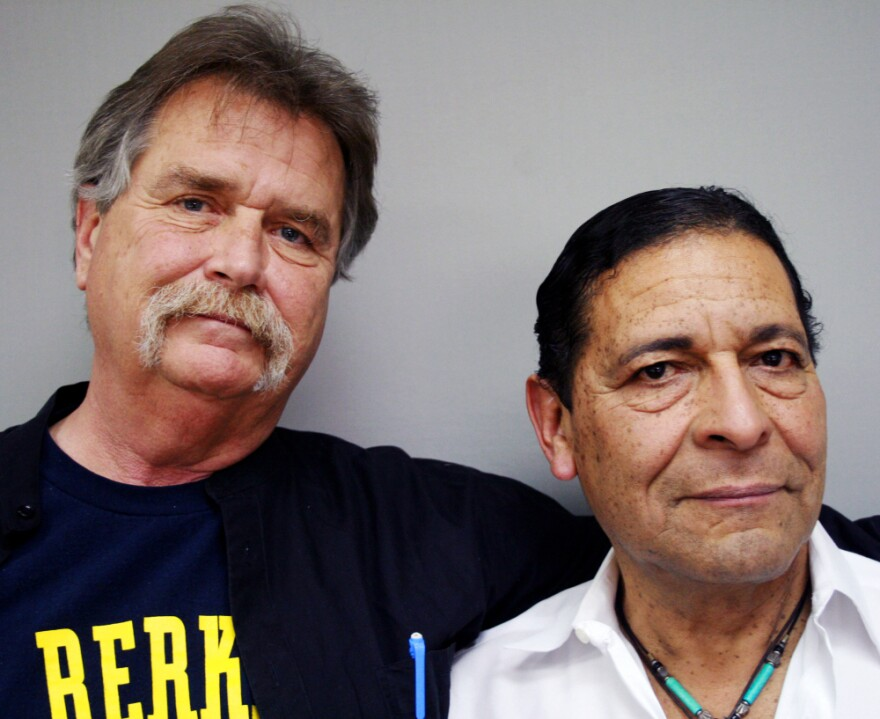 """Veterans Paul Crowley (left) and Anthony Bravo Esparza, known to customers as """"Dreamer,"""" offer solace to military personnel returning from overseas duty."""