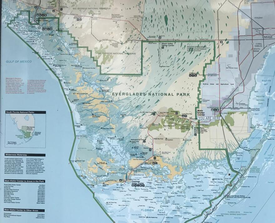 A map at the Ernest Coe Visitors Center in Everglades National Park shows Taylor Slough and Shark River Slough. Shark River Slough is bigger, but Taylor Slough discharges fresh water directly into Florida Bay.