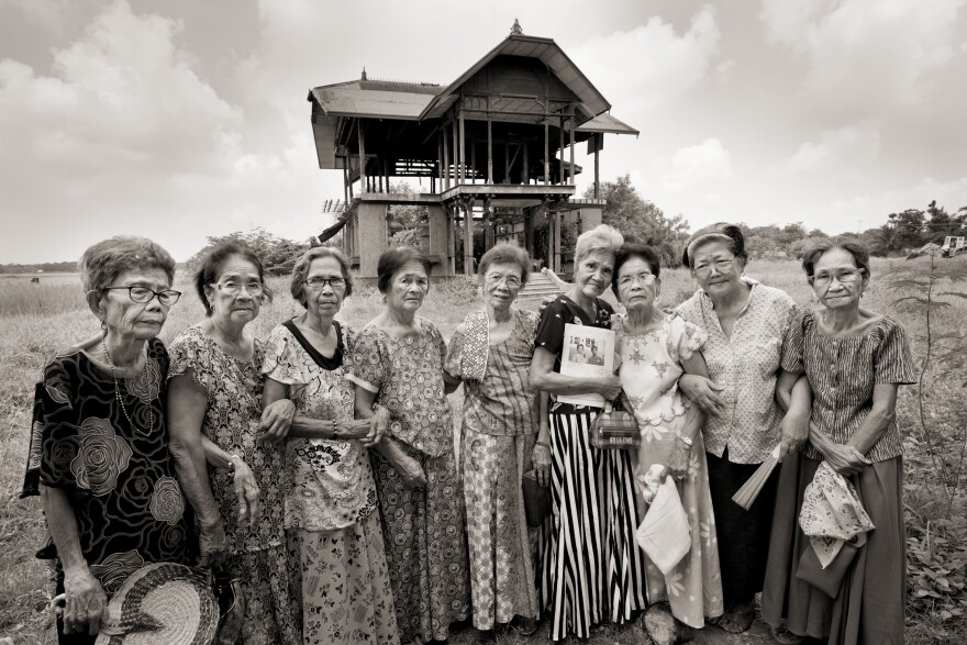 The Malaya Lolas are a group of women who were sexually assaulted as children by Japanese soldiers in Pampanga province in the Philippines during World War II. Left to right are Belen Alarcon Culala, Catalina Yarbut Manio, Lydia Alonzo Sanchez, Francia Aga Buco, Pilar Quilantang Galang, Isabelita Vinuya, Maria Lalu Quilantang, Candelaria Soliman and Emilia dela Cruz Mangilit.