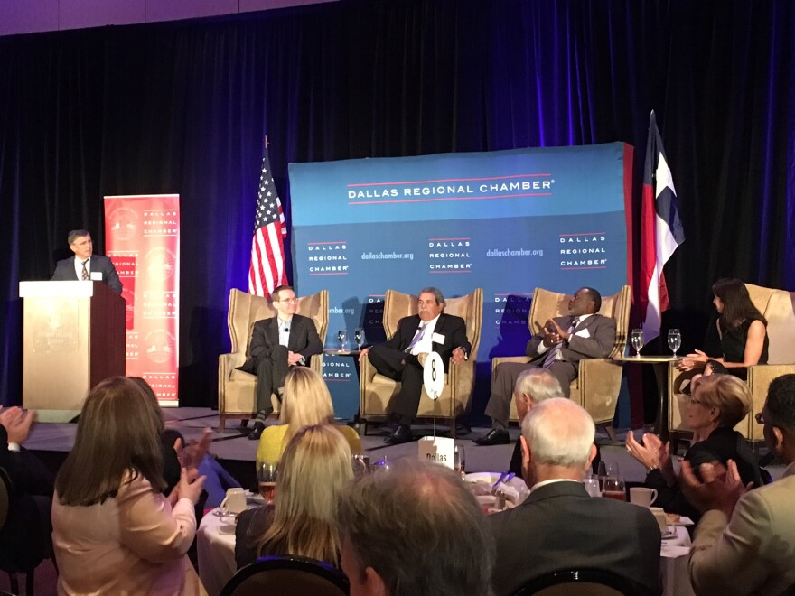 Texas Commissioner of Education Mike Morath spoke at a Dallas Regional Chamber on Wednesday. He was joined by Dallas ISD Superintendent Michael Hinojosa, Desoto ISD Superintendent David Harris and Uplift CEO Yasmin Bhatia.