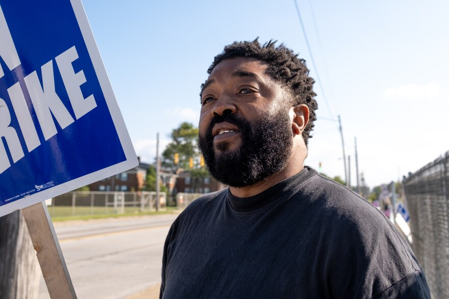 Colon B James Jr. aka Benji, a United Auto Workers member for 35 years, stands outside of the south gate of the General Motors Metal Fabrication Division with approximately 40 fellow workers currently on strike. Parma, Ohio Tuesday, Sep. 17, 2019.