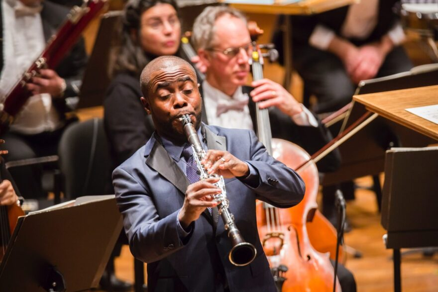 Anthony McGill, the principal clarinetist of the New York Philharmonic, performing at Avery Fisher Hall. He was recently awarded the Avery Fisher Prize.