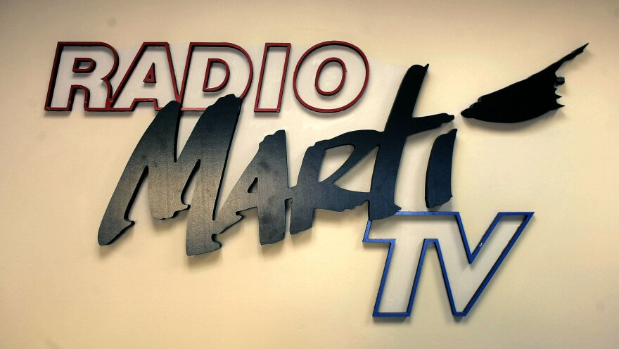 A sign seen on the wall of Radio and TV Marti's Miami headquarters.