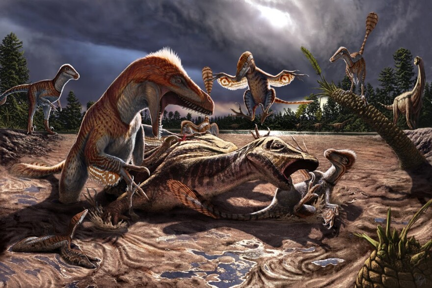 Animated image depicting dinosaurs