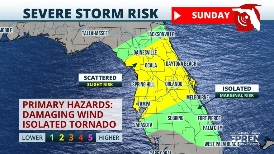 Graphic showing severe storm risk for Florida Sunday