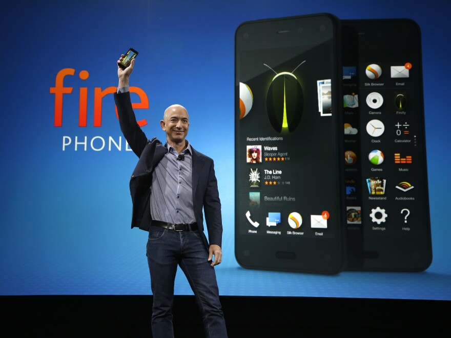 Amazon CEO Jeff Bezos introduces the new Amazon Fire Phone on Wednesday, in Seattle.