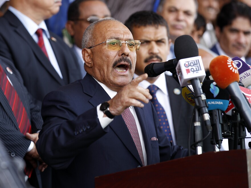 Ali Abdullah Saleh gave a speech to supporters in Yemen's capital Sanaa on Aug. 24, 2017. He never wavered in his belief that only he could lead the Yemenis, even though he fueled societal divisions by playing enemies off one another to weaken his opposition.