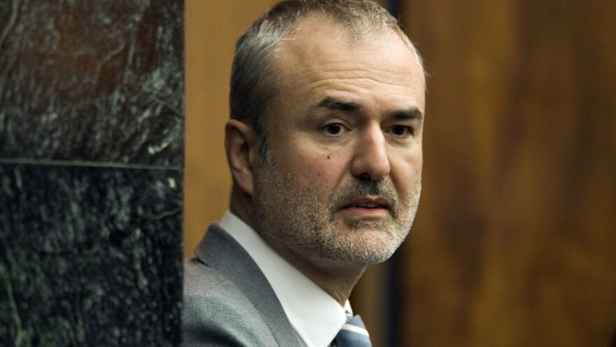 Gawker Media founder Nick Denton arrives in a courtroom in St. Petersburg, Fla., on March 16.