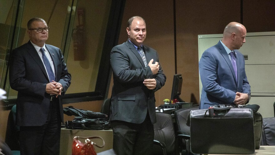 (L-R): David March, Thomas Gaffney and Joseph Walsh appear at a pre-trial hearing in Chicago in October 2018.