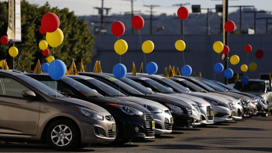 Hyundai Motor Co. vehicles sit on display for sale on the lot of  in the Van Nuys neighborhood of Los Angeles, California, U.S.