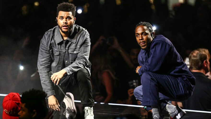 """Kendrick Lamar joins The Weeknd on stage during the """"Legends of The Fall Tour"""" in 2017."""