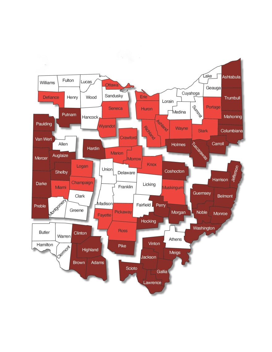 photo of a political map of ohio