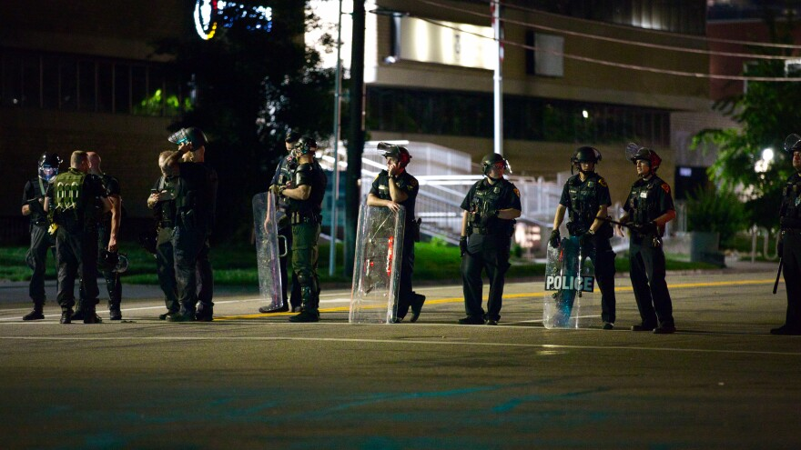 Photo of riot police in Salt Lake City.