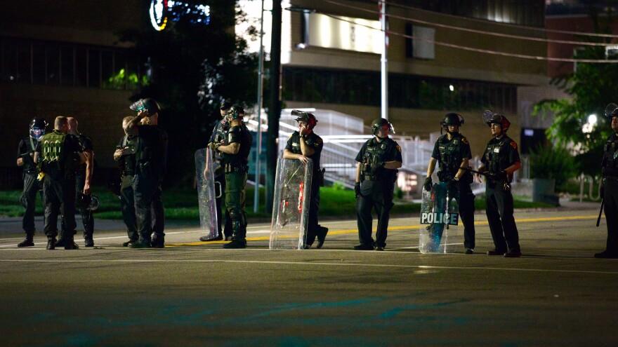Photo of riot police in Salt Lake City.