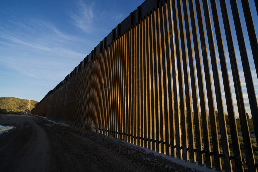 The United States-Mexico border wall is seen in Organ Pipe National Park south of Ajo, Arizona, on Feb. 13, 2020. (Sandy Huffaker/AFP via Getty Images)