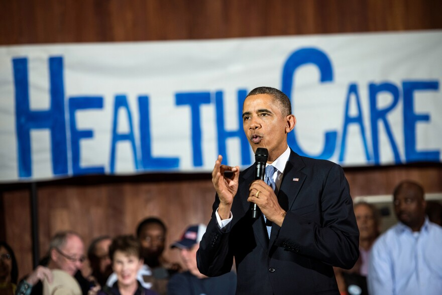 President Obama speaks in Dallas in 2013 about the technical problems that affected the initial rollout of the Affordable Care Act. Now, citing the law's success, he is urging Congress to expand the insurance offerings.