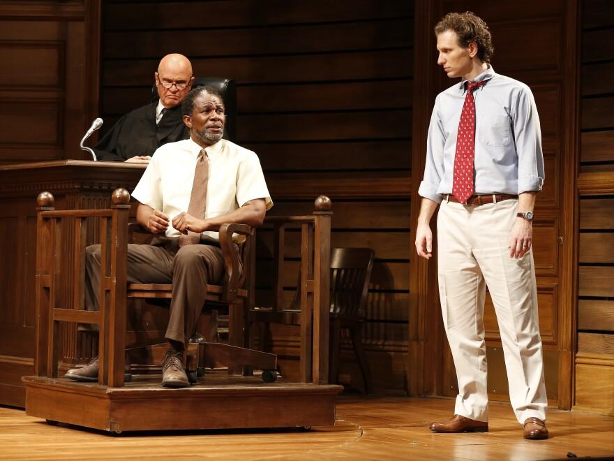 Fred Dalton Thompson, John Douglas Thompson and Sebastian Arcelus in a scene from the Broadway adaptation of <em>A Time to Kill</em>.