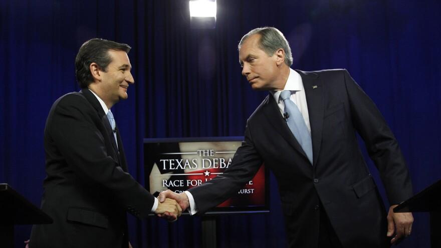 Ted Cruz, left, and David Dewhurst shake hands before their Republican Senate debate in Dallas on June 22.