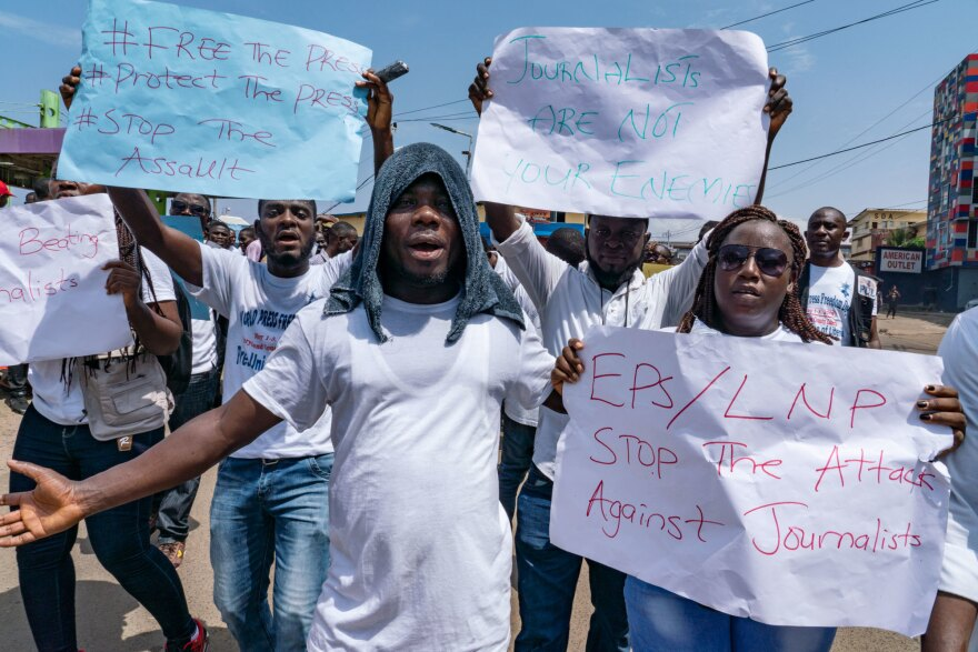 Journalists protest against what they say has been a pattern of using excessive force against them by the police and members of the government's security forces in Monrovia, Liberia, in March. Findings from a survey by Afrobarometer show that in Liberia, more than two-thirds of respondents backed government-imposed limits on the media.