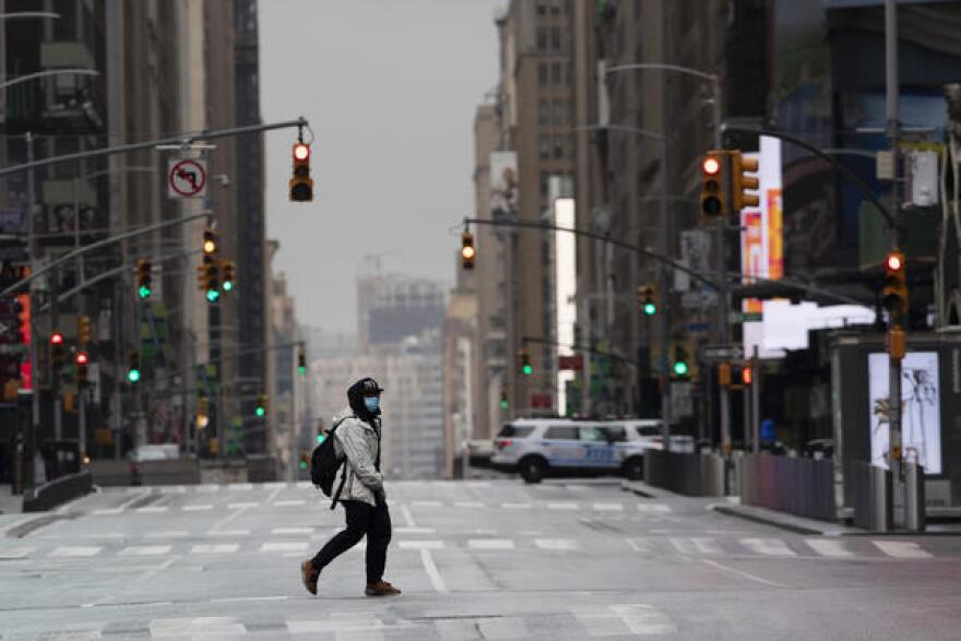 The typically busy streets in Times Square emptied as the coronavirus hit New York City in April.