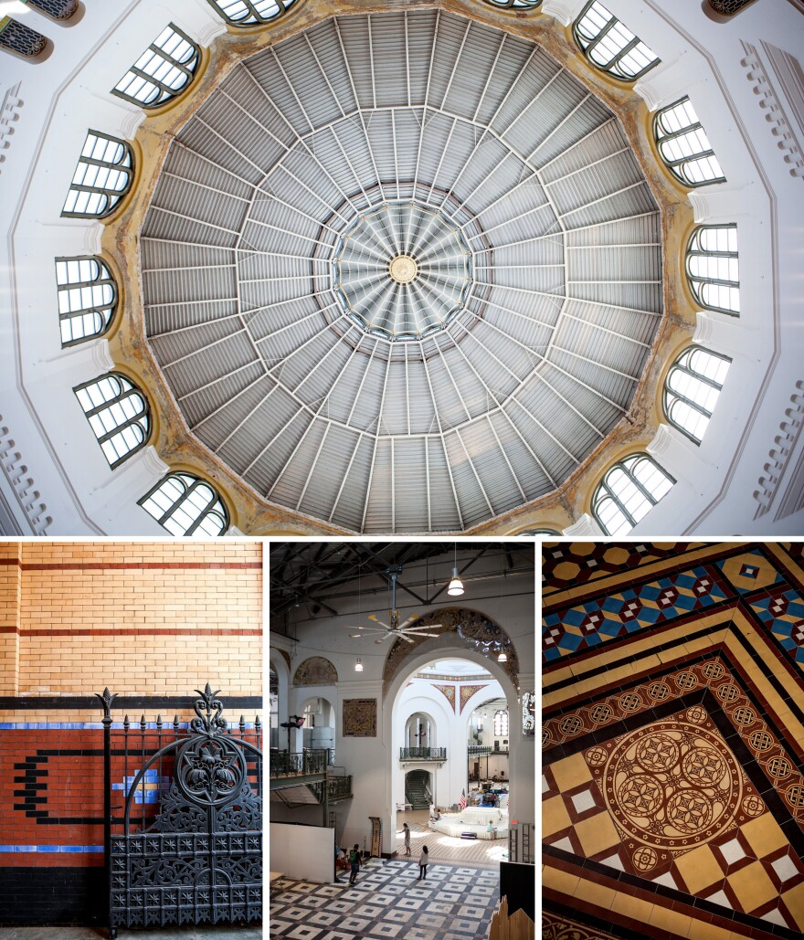 (Above) A detail of the building's rotunda. (Below) From the geometric patterns on its tiled floors to the friezes that frame interior arches, the Arts and Industries Building is an architectural hodgepodge of Moorish, Greek and Byzantine influences.