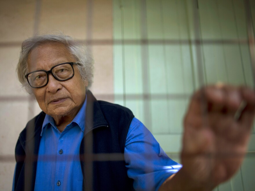 Win Tin, pictured at his Yangon home in 2013,  was a prominent journalist who became Myanmar's longest-serving political prisoner after challenging military rule.