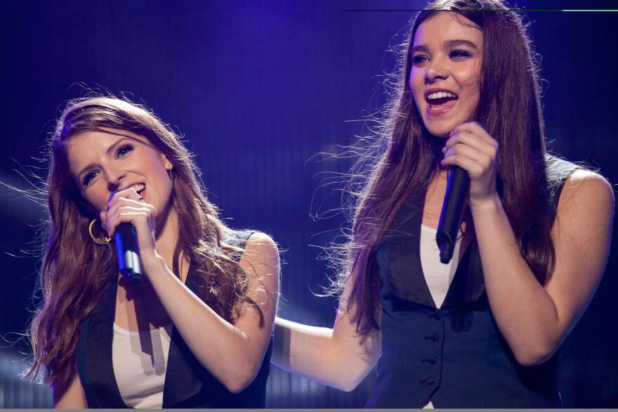 Steinfeld (right) returns to the big screen this weekend in <em>Pitch Perfect 2. </em>She plays Emily, the newest member of the Barden Bellas; her co-stars include Anna Kendrick (Beca).