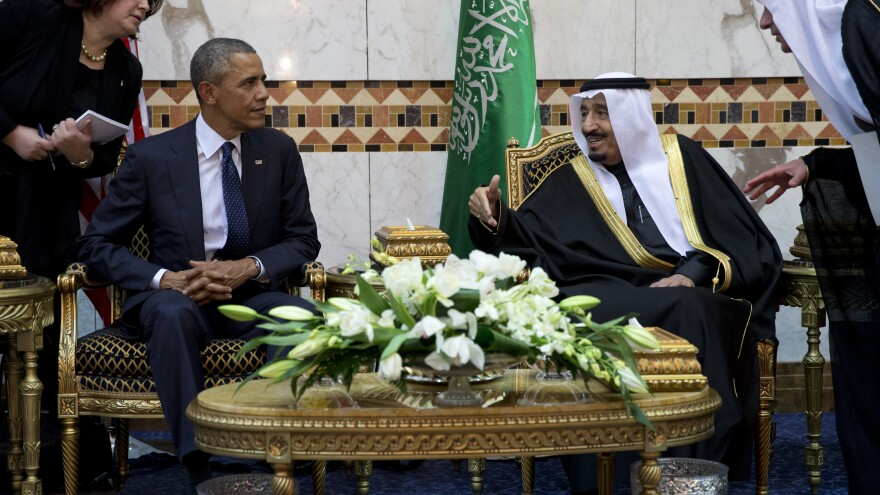 President Obama meets Saudi King Salman bin Abdul Aziz in Riyadh in January. The president is hosting King Salman at the White House Friday.