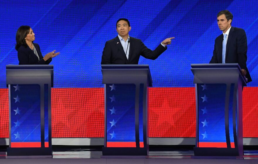 Sen. Kamala Harris, tech entrepreneur Andrew Yang and former Texas Rep. Beto O'Rourke participate in the third Democratic primary debate on Thursday night.