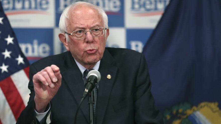 Democratic presidential candidate and Sen. Bernie Sanders, I-Vt., speaks to reporters about coronavirus Thursday in Burlington, Vt.
