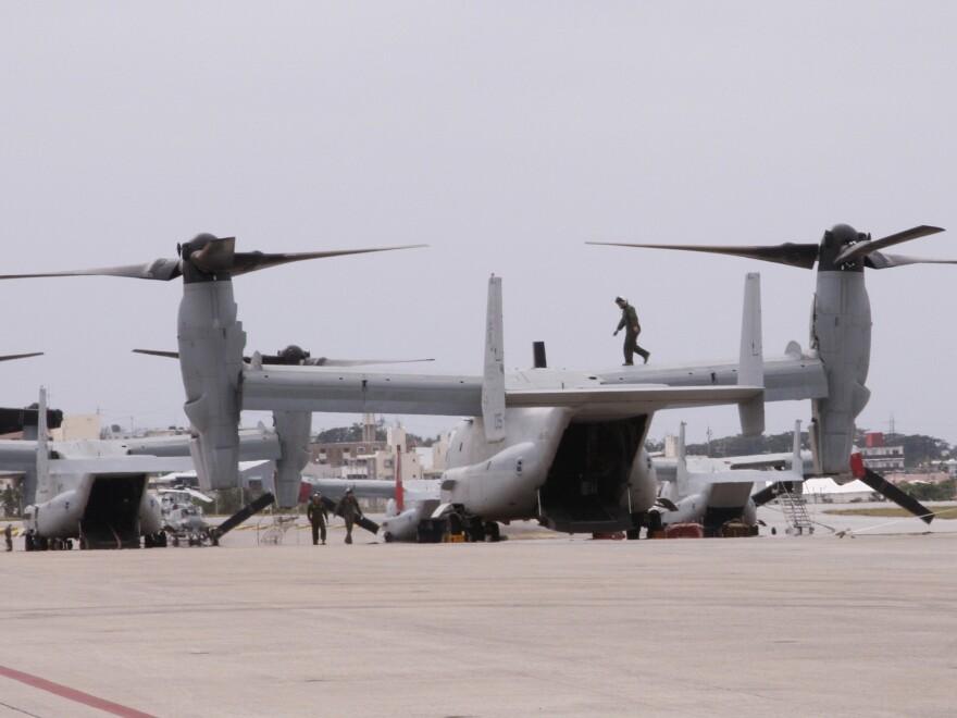 MV-22 Ospreys are seen at Marine Corps Air Station Futenma in Ginowan, Okinawa, in 2014.