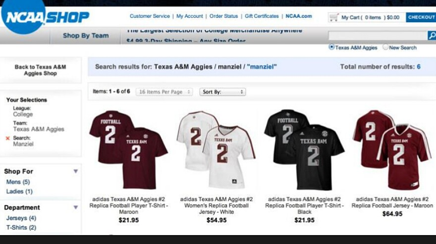 """A screenshot posted on Twitter by ESPN analyst Jay Bilas shows the results for a search for """"manziel"""" — shirts and jerseys matching Texas A&M star Johnny Manziel. The NCAA says it will stop selling such products."""