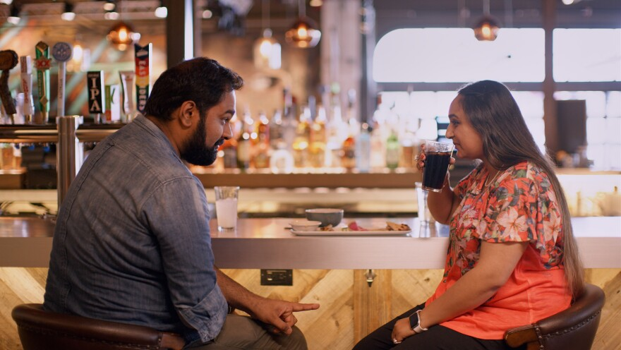 Is it a match? A potential couple meet up courtesy of a matchmaker in the Netflix series <em>Indian Matchmaking.</em>