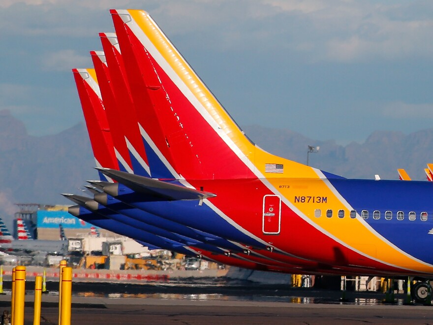 Southwest Airlines Boeing 737 Max aircraft sit on the tarmac at Phoenix Sky Harbor International Airport on March 13. The 737 Max has been grounded worldwide following a pair of deadly crashes.