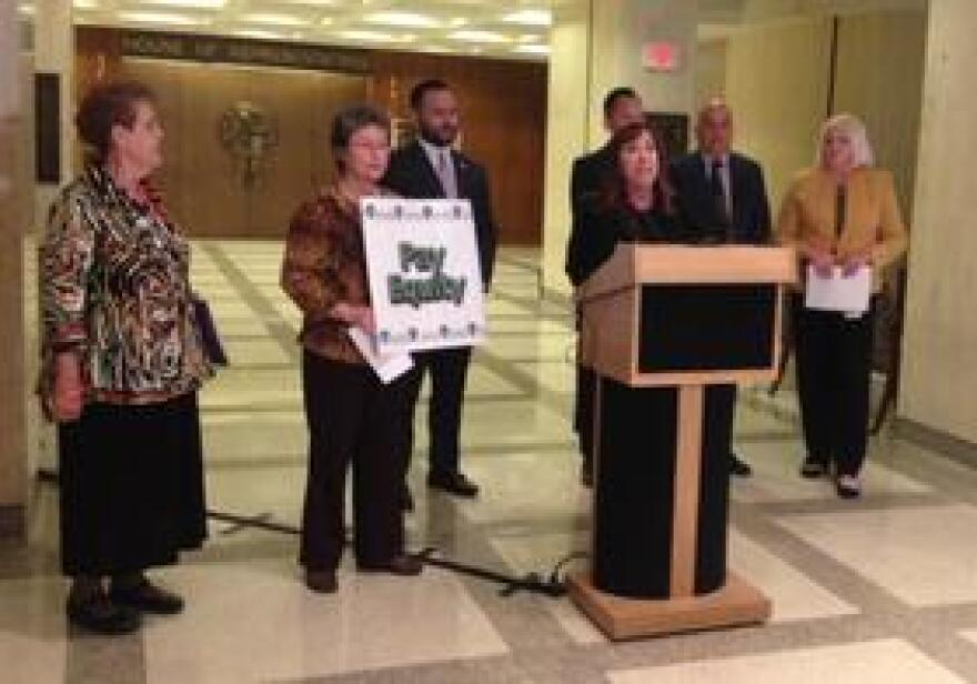 Rep. Lori Berman (D-Lantana) joined by other lawmakers and advocates who want to close the gender wage gap.