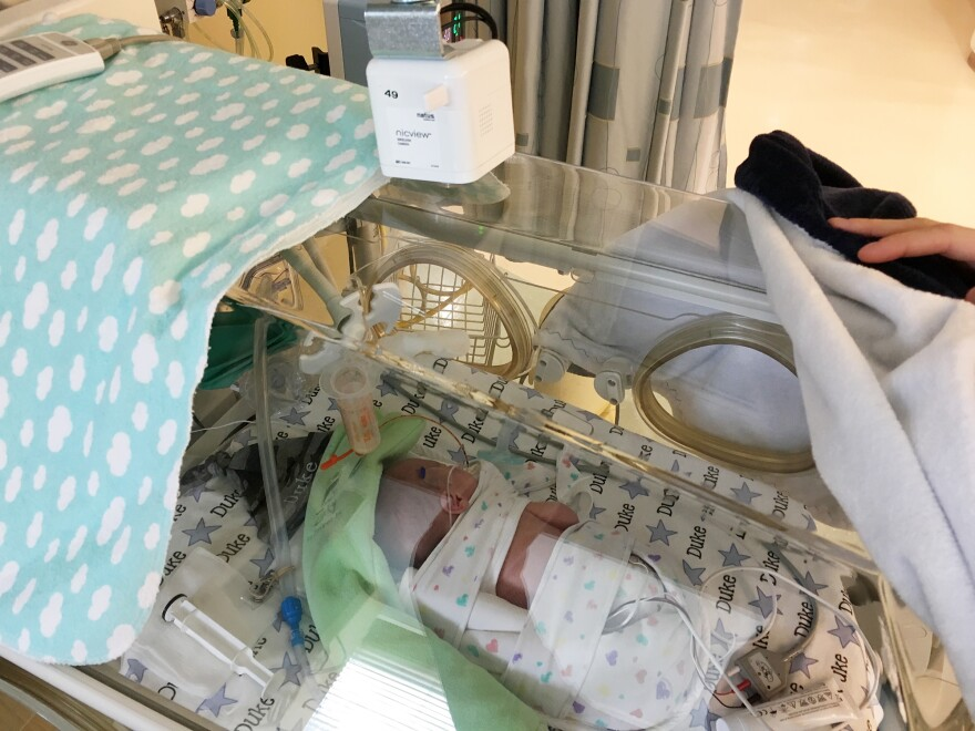 While Baby Duke Brothers stayed in the NICU, his parents could watch over him via web cam.