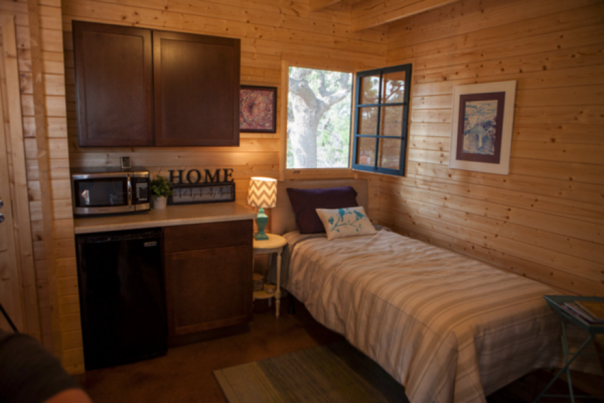 The interior of one of the tiny homes at the Community First! Village.