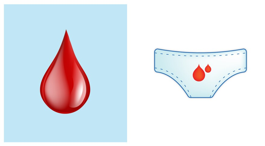 The red drop of blood (left) was designated as an official emoji to symbolize menstruation, among other things, this year. The design at right, submitted in 2017, was not accepted.
