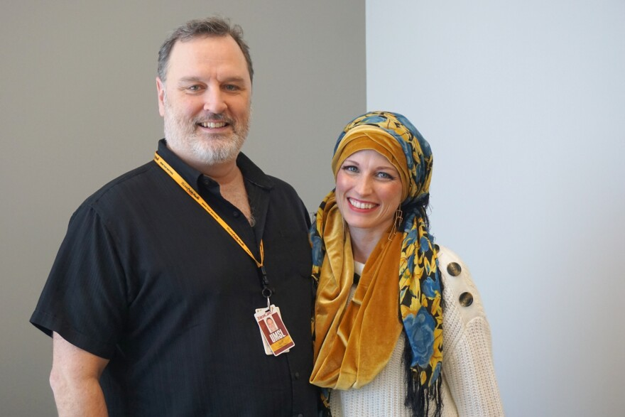 Since being diagnosed with breast cancer in May 2018, Jossalyn Larson (at right) has been open about her treatment journey. He husband, John Larson (at left), is operations manager for St. Louis Public Radio.