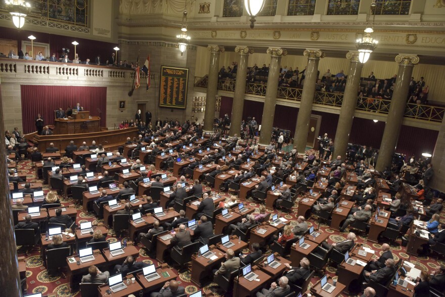 Lawmakers listen to Greitens deliver the 2018 State of the State in the Missouri House chambers.